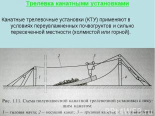 Трелевка канатными установками Канатные трелевочные установки (КТУ) применяют в