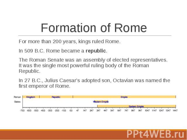 For more than 200 years, kings ruled Rome. For more than 200 years, kings ruled Rome. In 509 B.C. Rome became a republic.The Roman Senate was an assembly of elected representatives. It was the single most powerful ruling body of the Roman Republic.I…