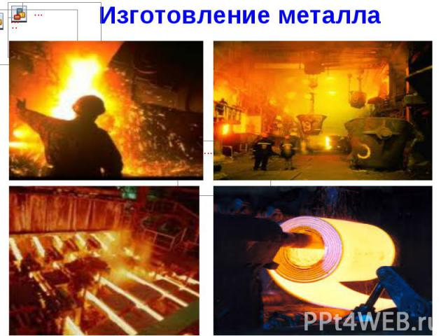 Изготовление металла. Затем руда попадает на завод, и превратить ее в железо помогает жаркий огонь. В огромных печах – домнах, день и ночь бушует пламя. В домны поступает железная руда. Она плавится и становится жидкой. Так получают чугун. Чугун отп…