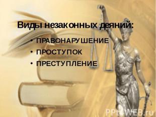Виды незаконных деяний: ПРАВОНАРУШЕНИЕ ПРОСТУПОК ПРЕСТУПЛЕНИЕ