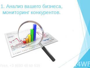 1. Анализ вашего бизнеса, мониторинг конкурентов.