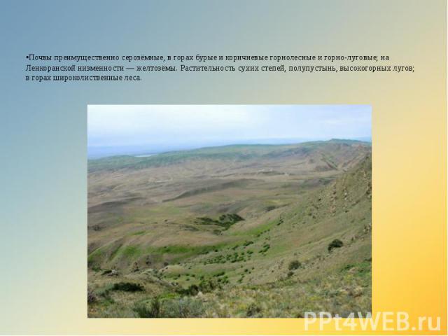 •Почвы преимущественно серозёмные, в горах бурые и коричневые горнолесные и горно-луговые; на Ленкоранской низменности — желтозёмы. Растительность сухих степей, полупустынь, высокогорных лугов; в горах широколиственные леса.