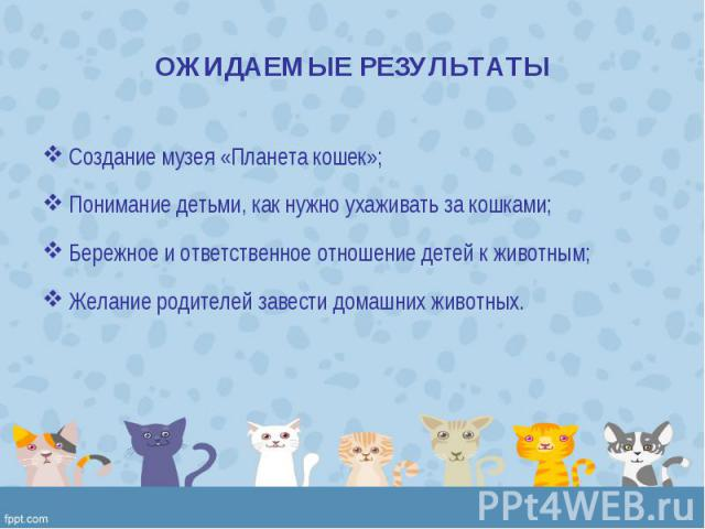 Создание музея «Планета кошек»; Создание музея «Планета кошек»; Понимание детьми, как нужно ухаживать за кошками; Бережное и ответственное отношение детей к животным; Желание родителей завести домашних животных.