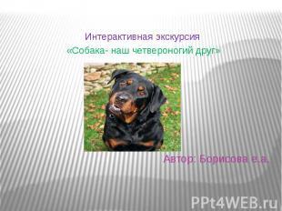 Автор: Борисова е.а. Интерактивная экскурсия «Собака- наш четвероногий друг»