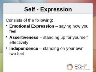 Self - ExpressionConsists of the following:Emotional Expression – saying how you