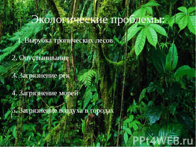Экологические проблемы: 1. Вырубка тропических лесов 2. Опустынивание 3. Загрязнение рек 4. Загрязнение морей 5. Загрязнение воздуха в городах