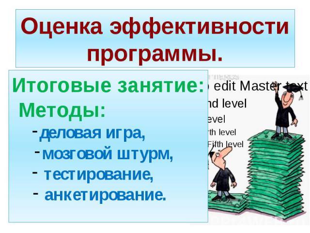Оценка эффективности программы. Итоговые занятие: Методы: деловая игра, мозговой штурм, тестирование, анкетирование.