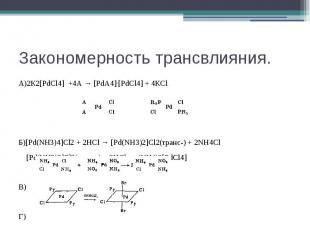 Закономерность трансвлияния. А)2К2[PdCl4] +4А → [PdА4]·[PdCl4] + 4КCl Б)[Pd(NH3)