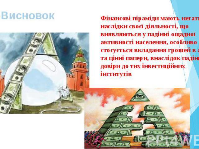 Висновок Фінансові піраміди мають негативні наслідки своєї діяльності, що виявляються у падінні ощадної активності населення, особливо що стосується вкладання грошей в акції та цінні папери, внаслідок падіння довіри до тих інвестиційних інститутів
