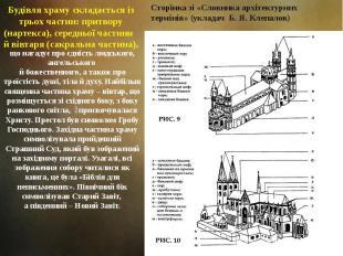 Будівля храму складається із трьох частин: притвору (нартекса), середньої частин