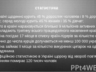 статистика В Україні щоденно курить 45% дорослих чоловіків і 9% доро