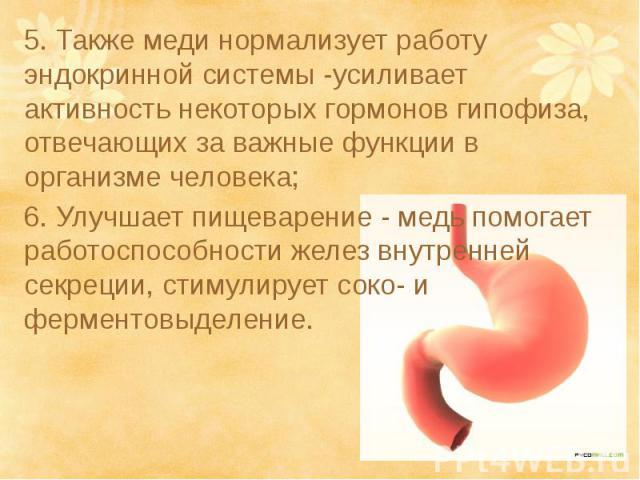 5. Также меди нормализует работу эндокринной системы -усиливает активность некоторых гормонов гипофиза, отвечающих за важные функции в организме человека;5. Также меди нормализует работу эндокринной системы -усиливает активность некоторых гормонов г…