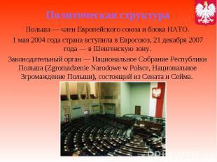 Политическая структура Польша— член Европейского союза и блока НАТО. 1 мая