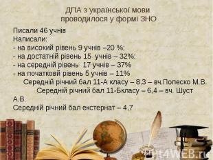 ДПА з української мови проводилося у формі ЗНО