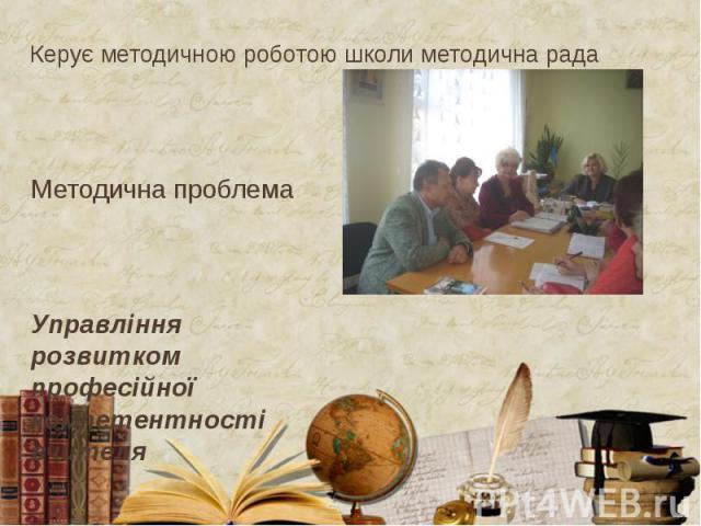 Керує методичною роботою школи методична рада Методична проблема Управління розвитком професійної компетентності вчителя