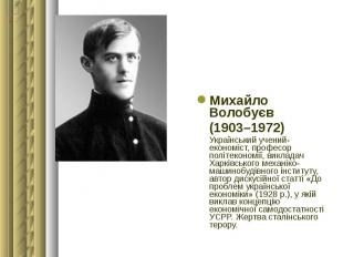 Михайло Волобуєв Михайло Волобуєв (1903–1972) Український учений-економіст, проф