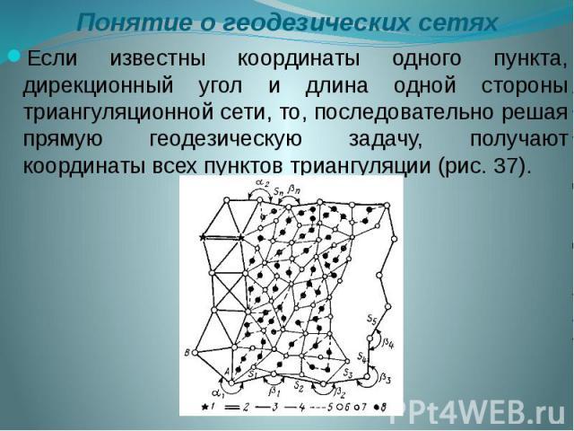 Понятие о геодезических сетях Если известны координаты одного пункта, дирекционный угол и длина одной стороны триангуляционной сети, то, последовательно решая прямую геодезическую задачу, получают координаты всех пунктов триангуляции (рис. 37).