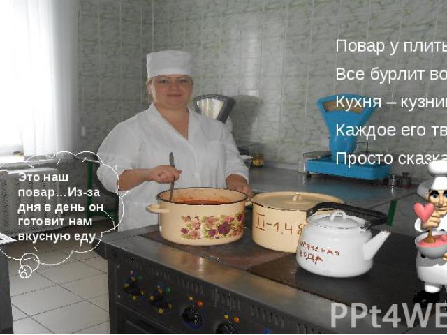Повар у плиты творит, Повар у плиты творит, Все бурлит вокруг него, Кухня – кузница его. Каждое его творенье - Просто сказка, объеденье,