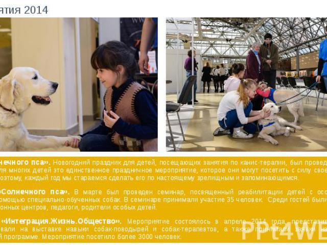Мероприятия 2014 Елка «Солнечного пса». Новогодний праздник для детей, посещающих занятия по канис-терапии, был проведен в январе 2014 года. Для многих детей это единственное праздничное мероприятие, которое они могут посетить с силу своего тяжелого…