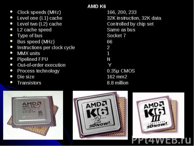AMD K6 AMD K6 Clock speeds (MHz) 166, 200, 233 Level one (L1) cache 32K instruction, 32K data Level two (L2) cache Controlled by chip set L2 cache speed Same as bus Type of bus Socket 7 Bus speed (MHz) 66 Instructions per clock cycle 2 MMX units 1 P…