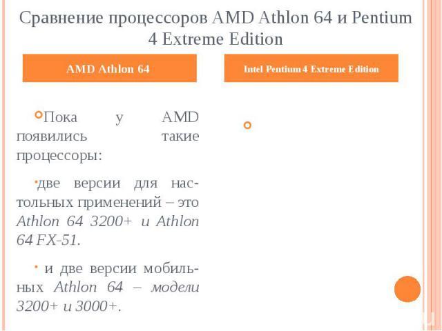 Сравнение процессоров AMD Athlon 64 и Pentium 4 Extreme Edition Пока у AMD появились такие процессоры: две версии для нас-тольных применений – это Athlon 64 3200+ и Athlon 64 FX-51. и две версии мобиль-ных Athlon 64 – модели 3200+ и 3000+.