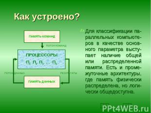Для классификации па-раллельных компьюте-ров в качестве основ-ного параметра выс