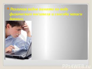 Различия видов памяти по виду физического носителя и способа записи данных.