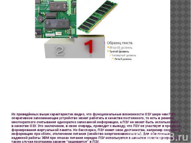 Из приведённых выше характеристик видно, что функциональные возможности ОЗУ шире чем ПЗУ: оперативное запоминающее устройство может работать в качестве постоянного, то есть в режиме многократного считывания однократно записанной информации, а ПЗУ не…