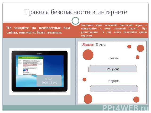 Правила безопасности в интернете Не заходите на неизвестные вам сайты, они могут быть платные.