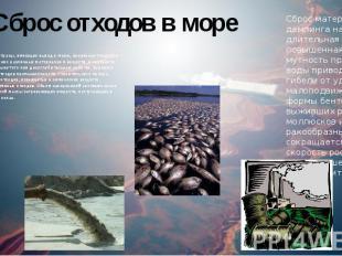Сброс отходов в море Многие страны, имеющие выход к морю, производят морское зах