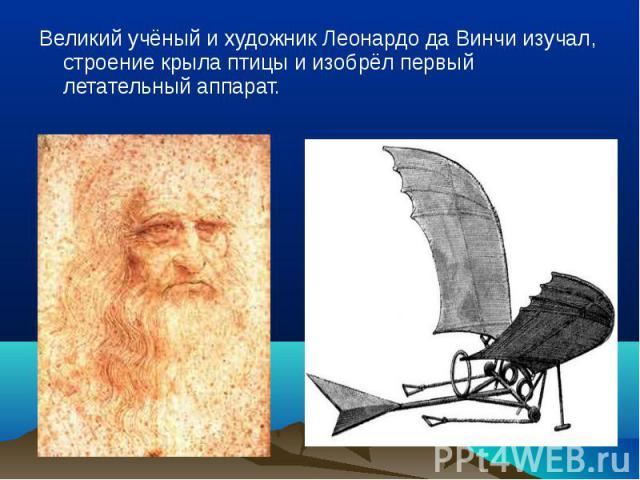 Великий учёный и художник Леонардо да Винчи изучал, строение крыла птицы и изобрёл первый летательный аппарат. Великий учёный и художник Леонардо да Винчи изучал, строение крыла птицы и изобрёл первый летательный аппарат.