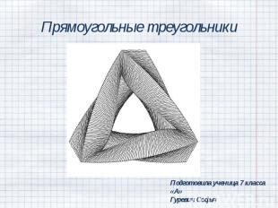 Прямоугольные треугольники Подготовила ученица 7 класса «А»Гуревич Софья