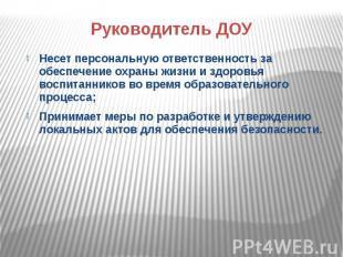 Руководитель ДОУ Несет персональную ответственность за обеспечение охраны жизни