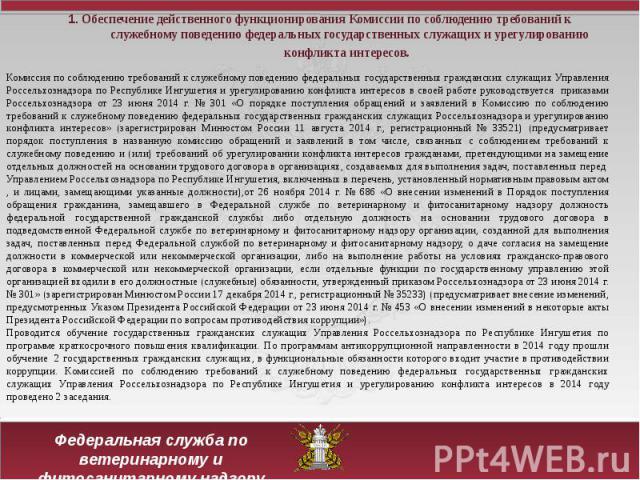 1. Обеспечение действенного функционирования Комиссии по соблюдению требований к служебному поведению федеральных государственных служащих и урегулированию конфликта интересов.