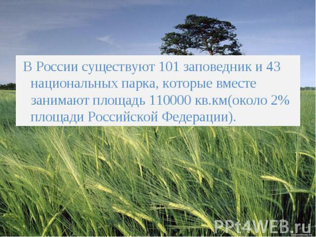 В России существуют 101 заповедник и 43 национальных парка, которые вместе занимают площадь 110000 кв.км(около 2% площади Российской Федерации). В России существуют 101 заповедник и 43 национальных парка, которые вместе занимают площадь 110000 кв.км…