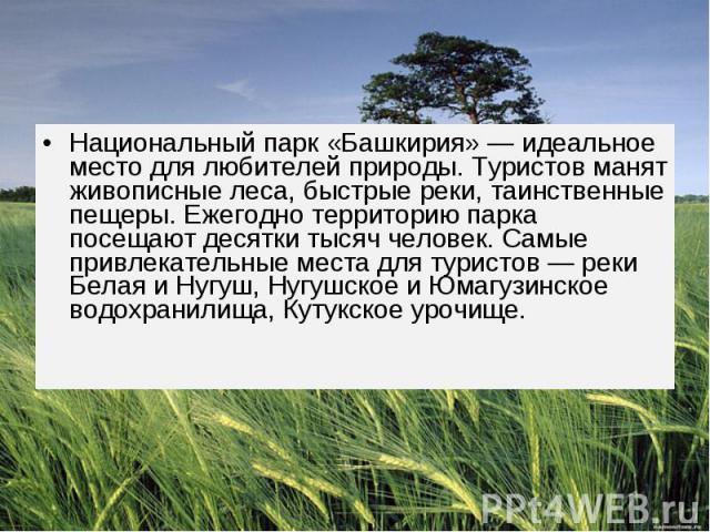 Национальный парк «Башкирия» — идеальное место для любителей природы. Туристов манят живописные леса, быстрые реки, таинственные пещеры. Ежегодно территорию парка посещают десятки тысяч человек. Самые привлекательные места для туристов — реки Белая …