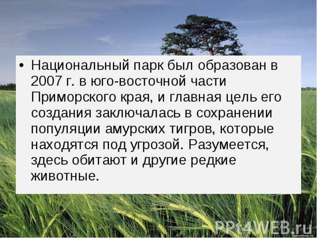 Национальный парк был образован в 2007 г. в юго-восточной части Приморского края, и главная цель его создания заключалась в сохранении популяции амурских тигров, которые находятся под угрозой.Разумеется, здесь обитают и другие редкие животные.…