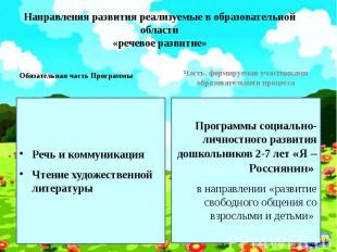 Направления развития реализуемые в образовательной области «речевое развитие» Об