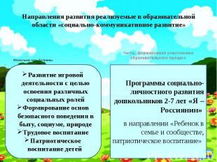 Направления развития реализуемые в образовательной области «социально-коммуникат