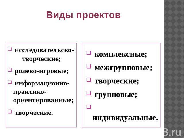 Виды проектов исследовательско- творческие; ролево-игровые; информационно-практико-ориентированные; творческие.