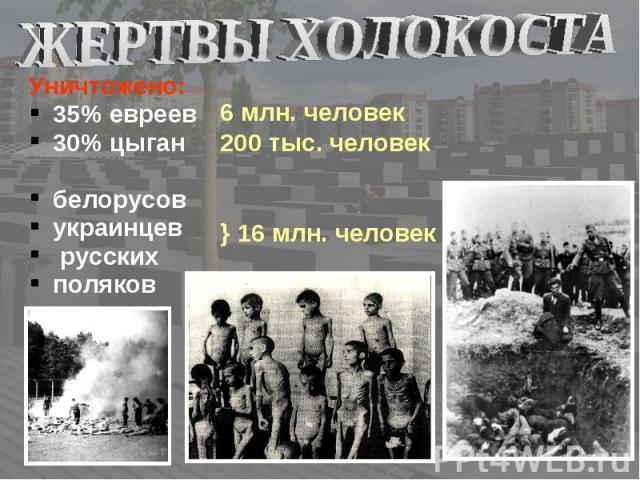 Уничтожено: Уничтожено: 35% евреев 30% цыган белорусов украинцев русских поляков