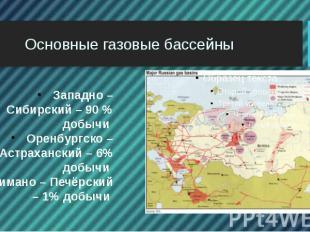Основные газовые бассейны Западно – Сибирский – 90 % добычи Оренбургско – Астрах