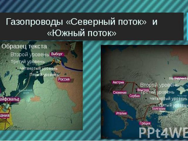 Газопроводы «Северный поток» и «Южный поток»