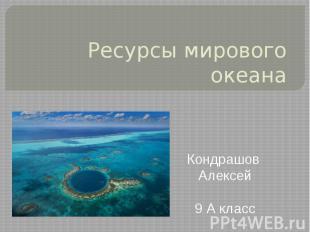 Ресурсы мирового океана Кондрашов Алексей 9 А класс