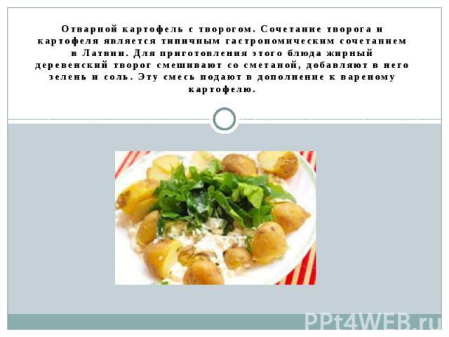 Отварной картофель с творогом. Сочетание творога и картофеля является типичным гастрономическим сочетанием в Латвии. Для приготовления этого блюда жирный деревенский творог смешивают со сметаной, добавляют в него зелень и соль. Эту смесь подают в до…