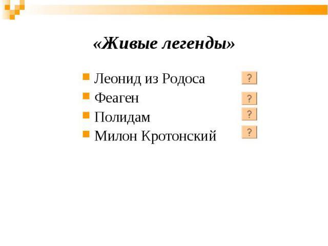 Леонид из Родоса Феаген Полидам Милон Кротонский