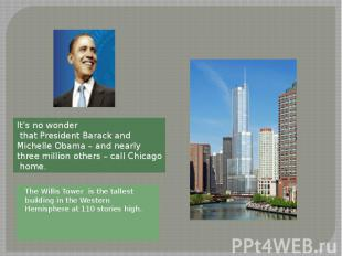 The Willis Tower is the tallest building in the Western Hemisphere at 110 storie