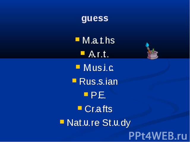 guess M…..hs …r… …us…. Rus…ian P… Cr...fts Nat…re St…dy