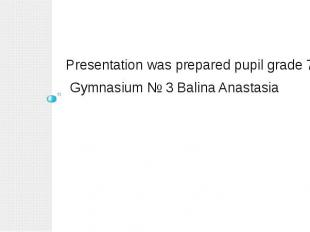 Presentation was prepared pupil grade 7 Gymnasium № 3 Balina Anastasia