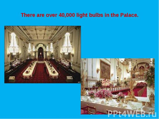 There are over 40,000 light bulbs in the Palace.